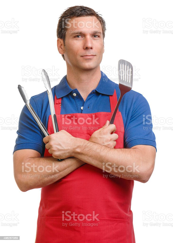 Man with Barbecue Cooking Utensils Isolated on White Background​​​ foto