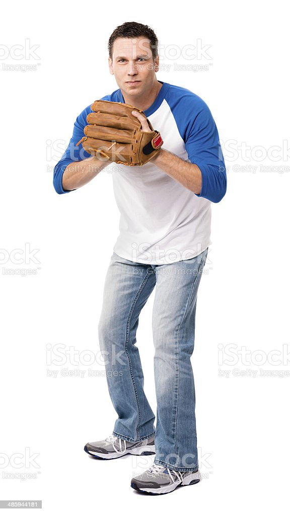 Man with Baseball and Glove Isolated on White Background stock photo