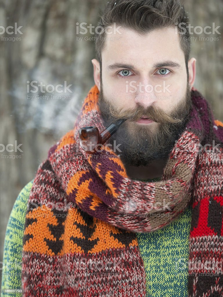 Man with Beard and Pipe stock photo