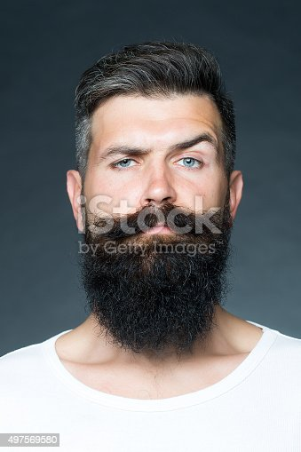 Portrait closeup of one handsome sensual grey-haired unshaven tanned man with long beard and moustache model looking forward in studio on grey background, vertical picture