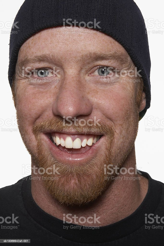 Man with beard, smiling, portrait royalty-free stock photo