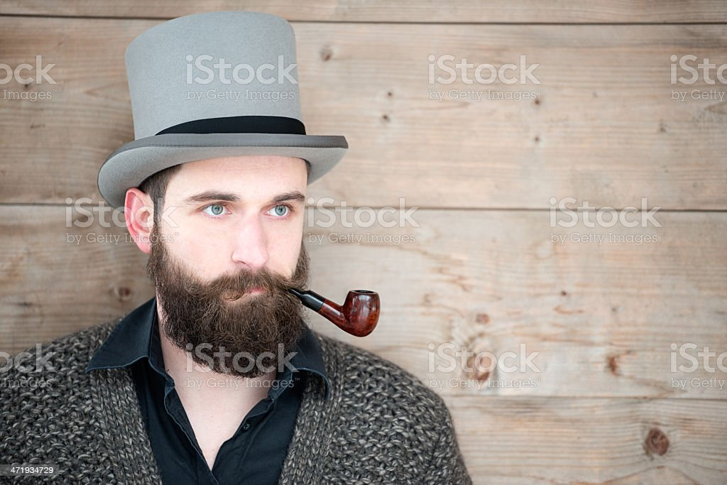 Man with Beard, Top Hat and Pipe stock photo