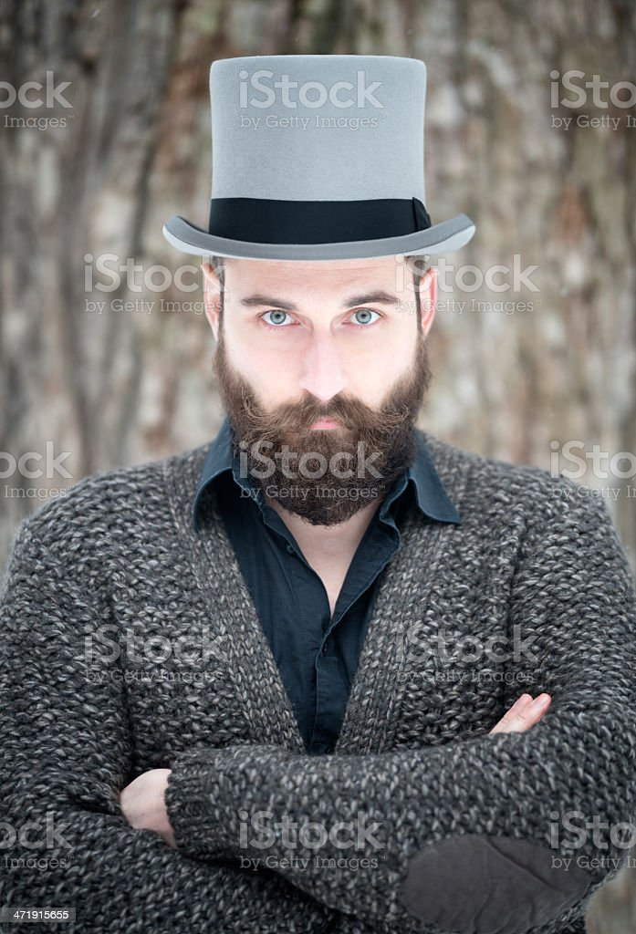 Man with Beard wearing a Stovepipe Tophat stock photo