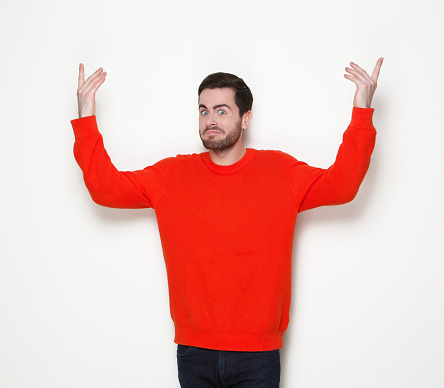 Man With Beard With Arms Raised Stock Photo - Download Image Now