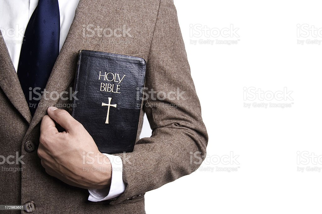 Man with Bible stock photo
