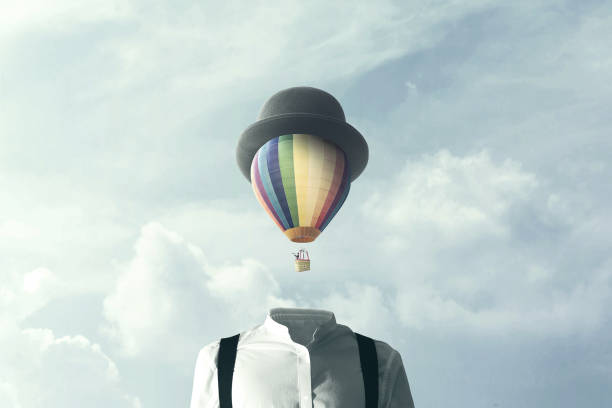 man with big balloon fly on his head, changement concept - ethereal stock pictures, royalty-free photos & images