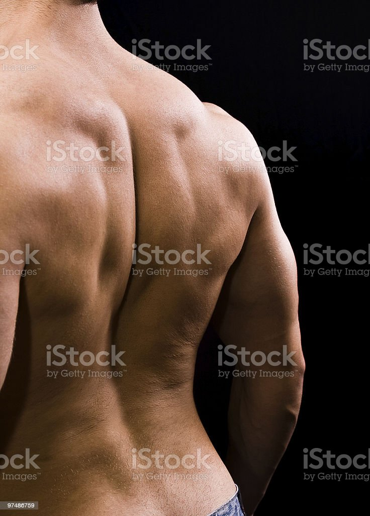Man with big muscular back royalty-free stock photo