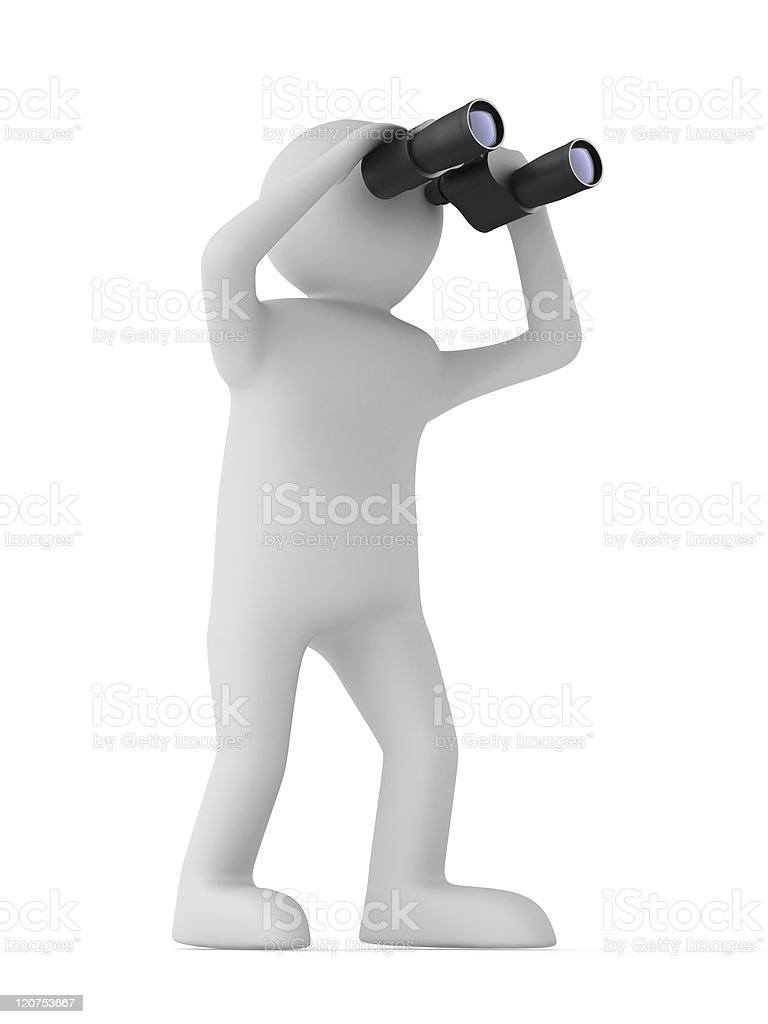 man with binocular on white background. Isolated 3d image royalty-free stock photo