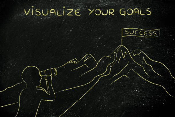 man with binoculars looking at Success flag, visualize your goals stock photo