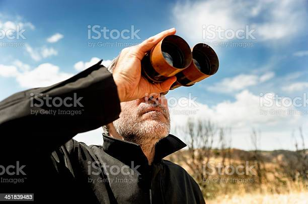Man With Binoculars Stock Photo - Download Image Now