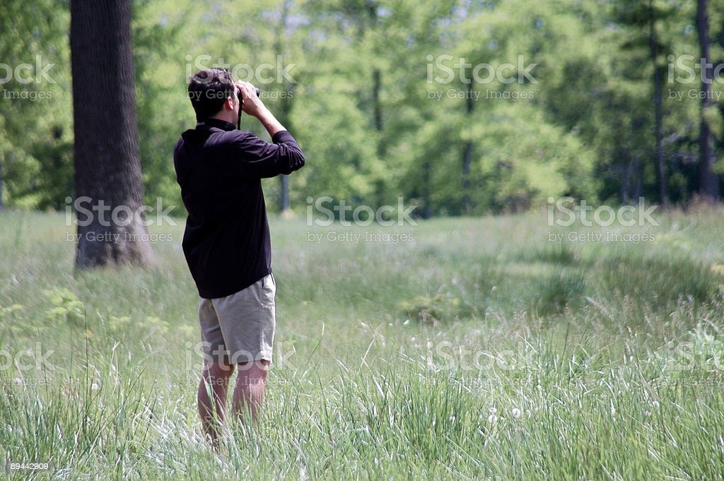 Man with Binoculars royalty-free stock photo