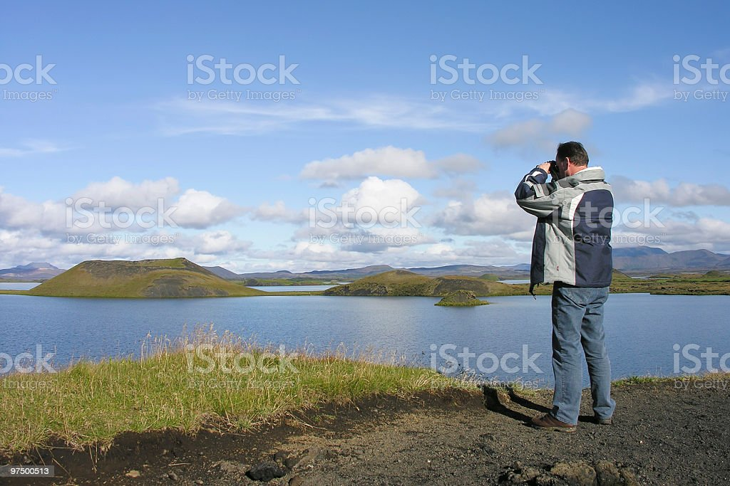 man with binoculars royalty-free stock photo