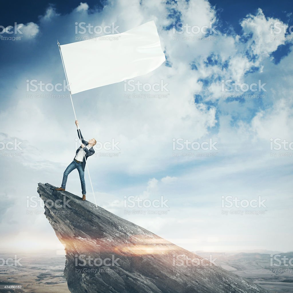 Man with blank flag stock photo