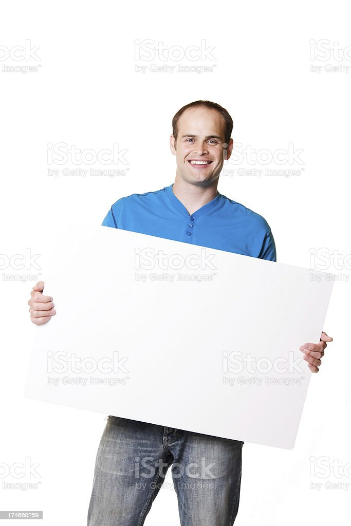 man with blank poster board paper sign stock photo more pictures