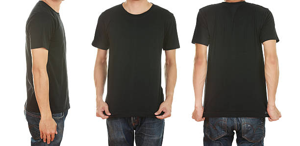 man with blank t-shirt stock photo