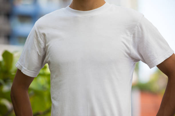 Man with Blank White T-shirt stock photo