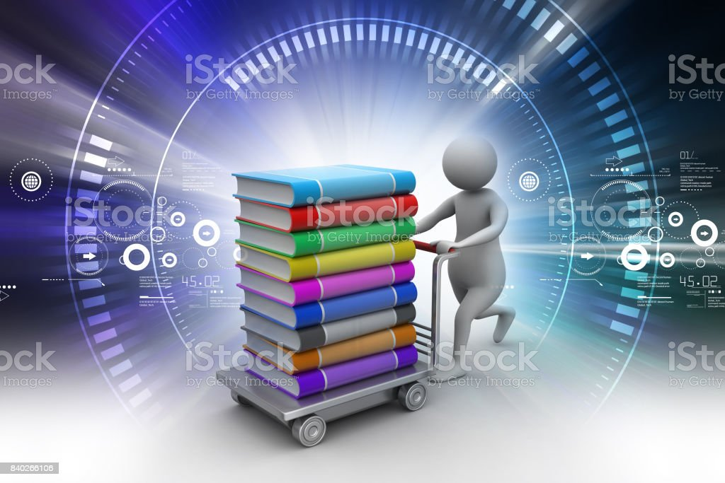 Man with books and trolley stock photo