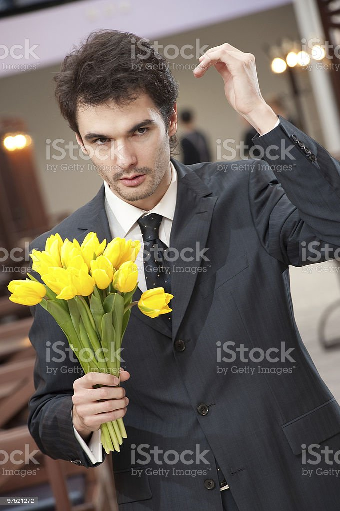 Man with bouquet royalty-free stock photo