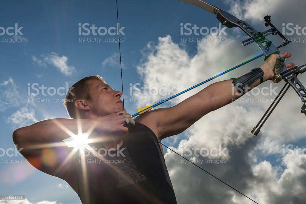 Man with bow and arrows royalty-free stock photo