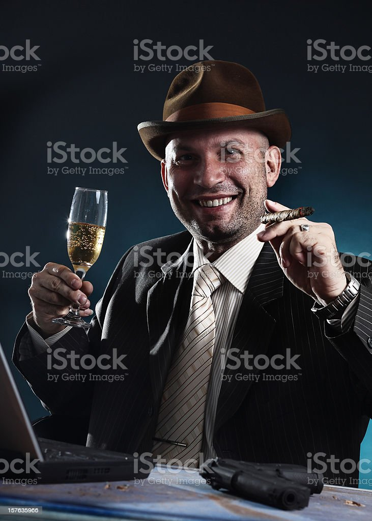 Man with bowler hat and cigar royalty-free stock photo