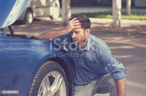 istock Man with broken down car flat tire 625869082