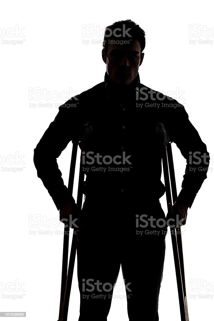 Man with broken leg royalty-free stock photo
