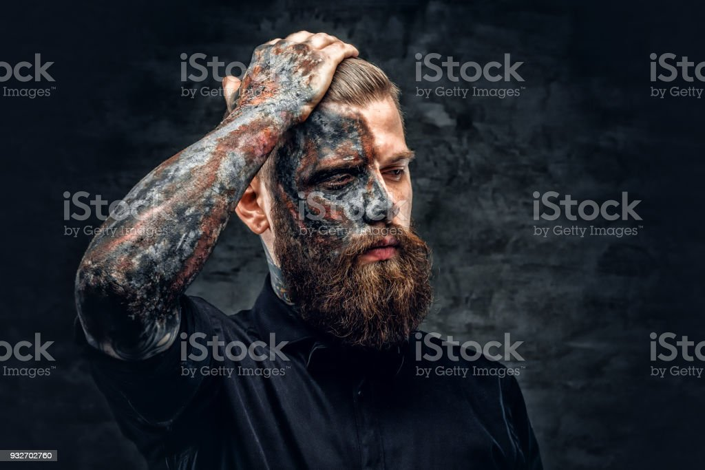 A man with burning make up. stock photo