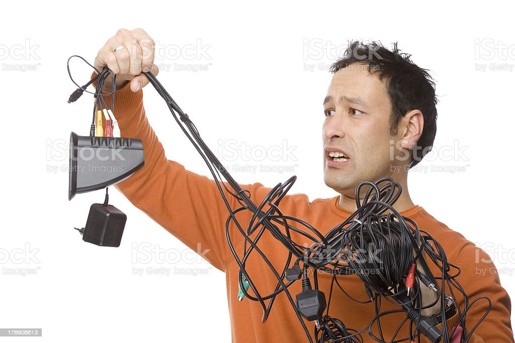 Man with cables royalty-free stock photo