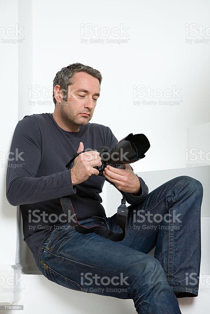 Man with camera stock photo