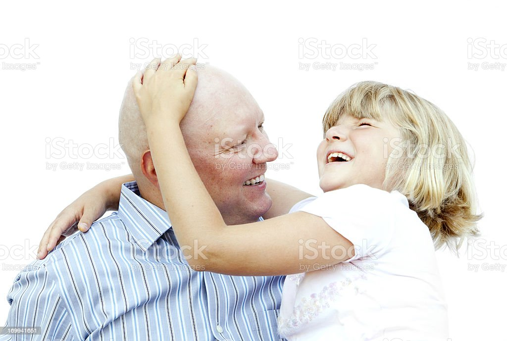 Man with Cancer and His Daughter Laughing stock photo