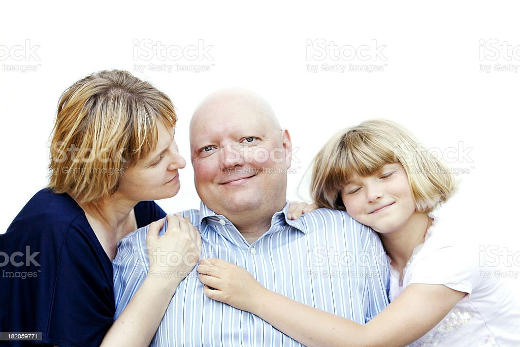 Man with Cancer and His Family stock photo