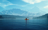 Man with canoe on the lake. 3d render illustration
