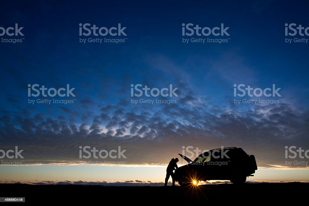 Man With Car Trouble Needing Roadside Assistance stock photo