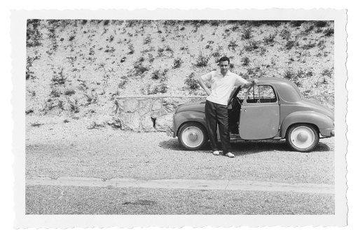 Man with Car,1950.Black And White