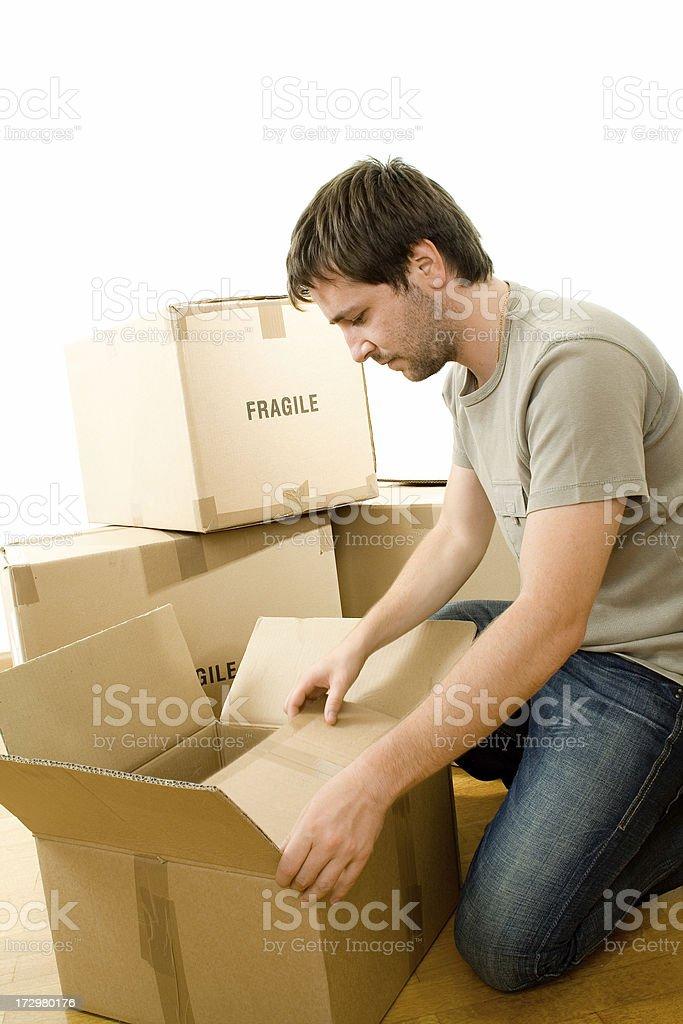 Man with carton boxes royalty-free stock photo