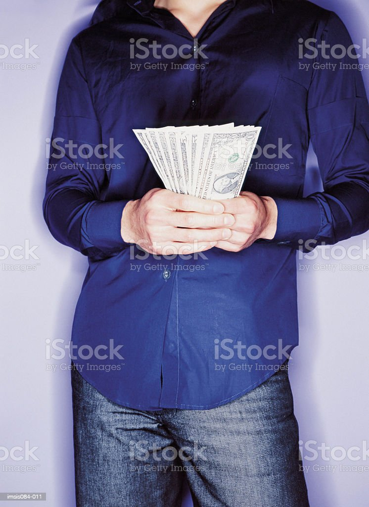 Man with cash royalty free stockfoto