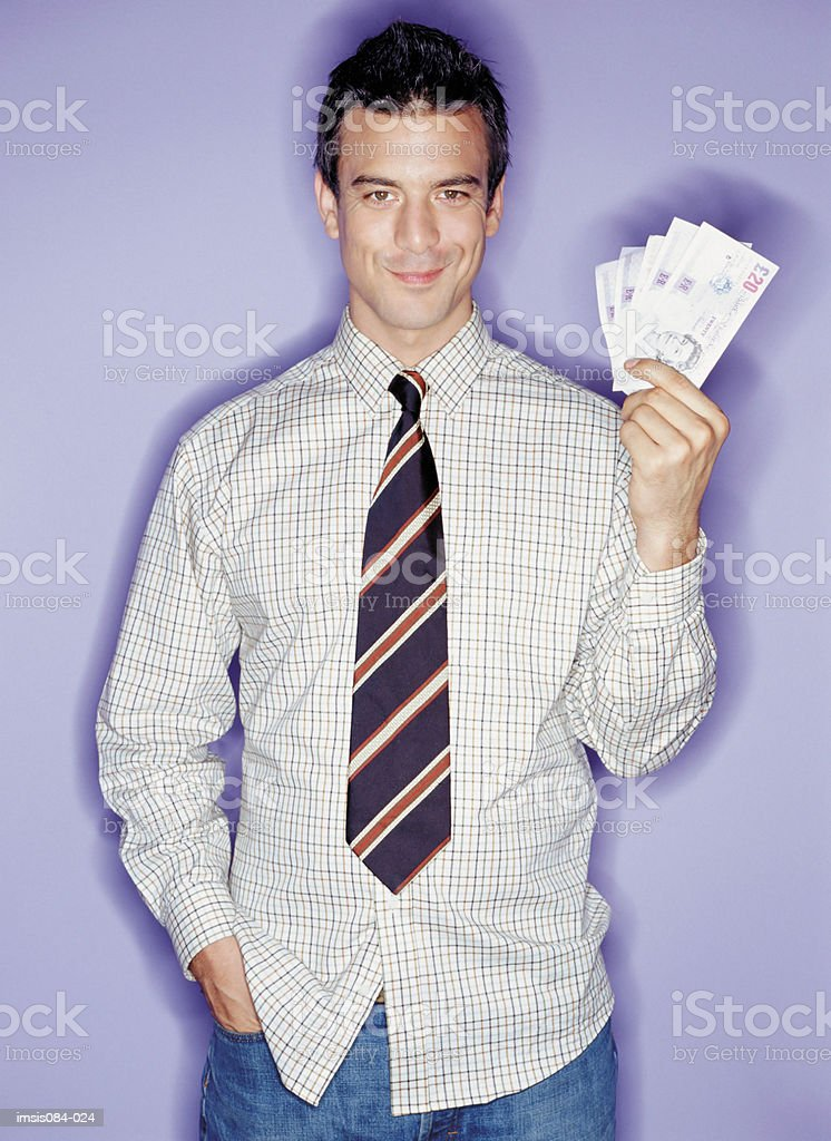 Man with cash royalty-free stock photo