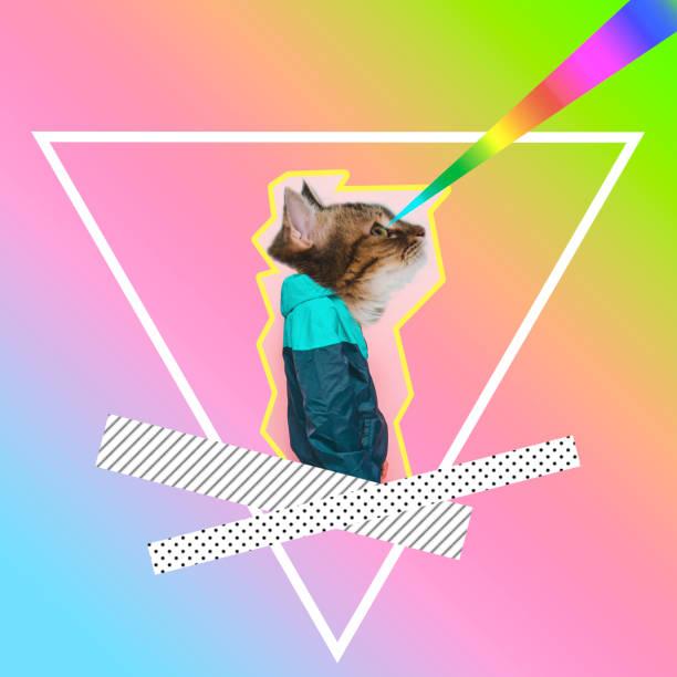 hombre con cabeza de gato tiro por láseres de arco iris - cat vaporwave fotografías e imágenes de stock