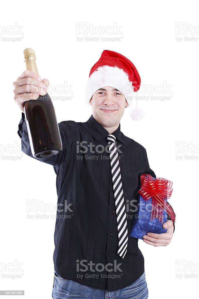 Man with champagne and gifts royalty-free stock photo