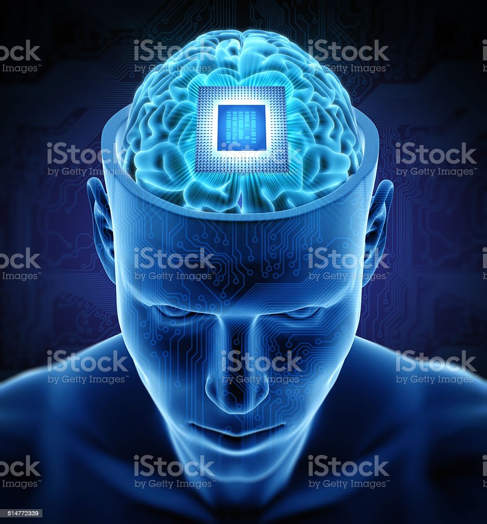 Man with chip in brain stock photo