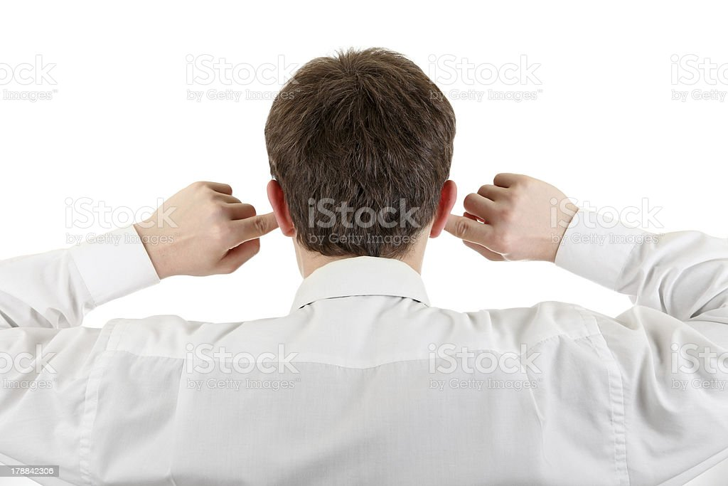 Man With Closed Ears royalty-free stock photo