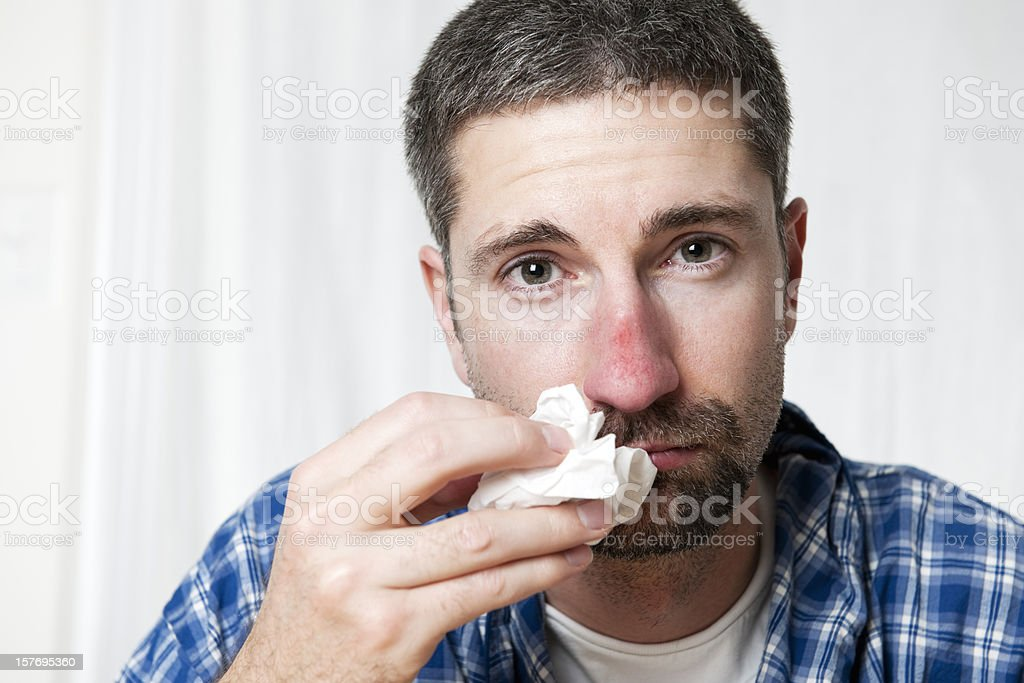 Man with Cold/Flu Series stock photo