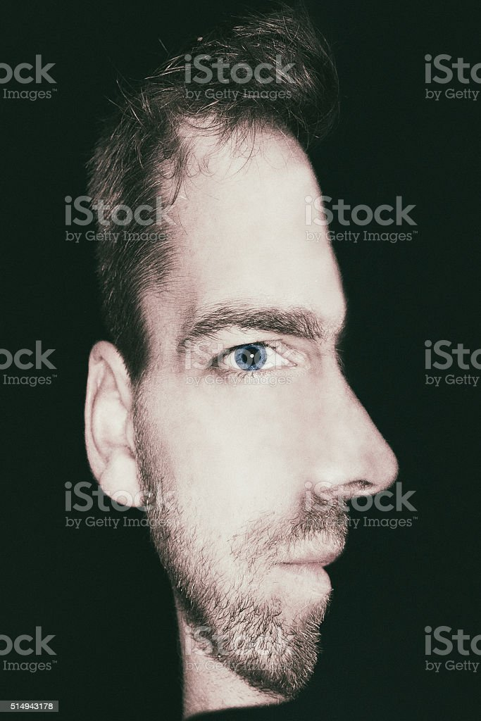 man with combined view of front and side face stock photo