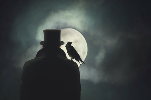 istock Man with crow on his shoulder observing the moon 862657822
