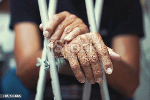 Hands of old man on crutches. Close-up a elderly man with crutches.