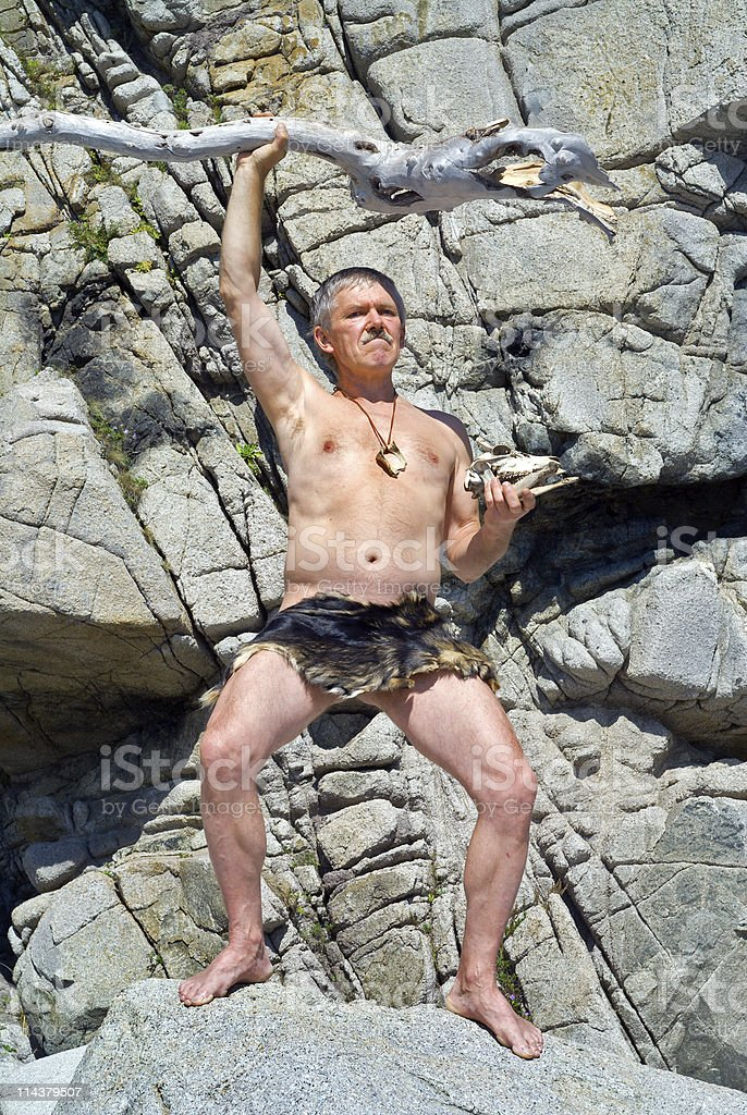 Man with cudgel stock photo