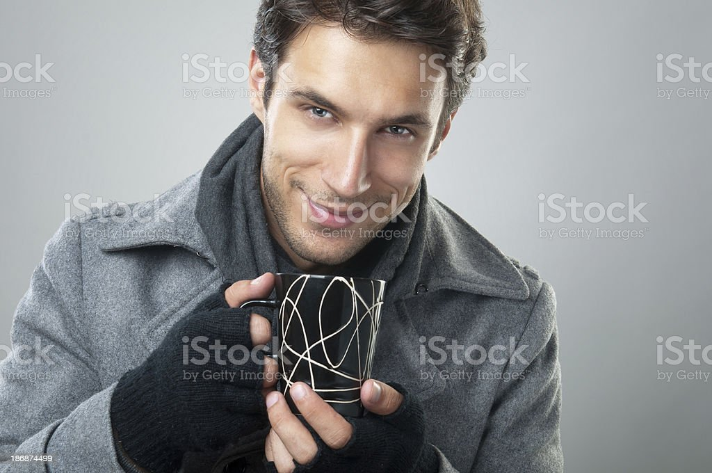man with cup of tea royalty-free stock photo