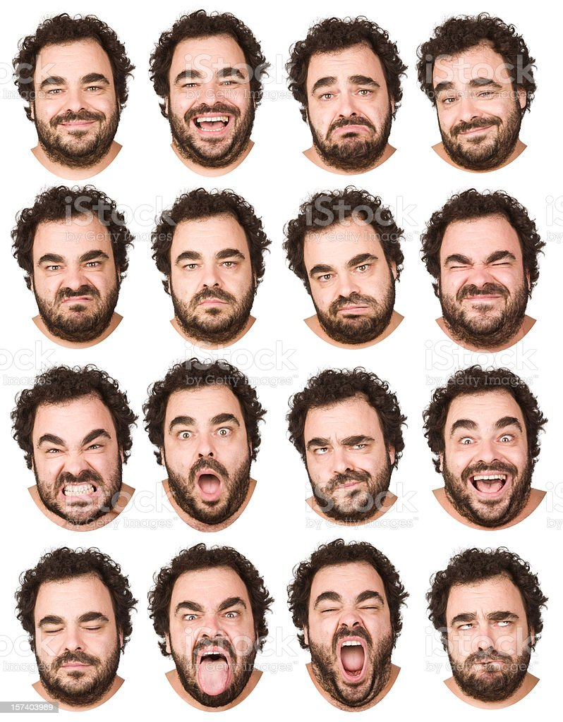 man with curly hair and beard collection of 16 expressions stock photo