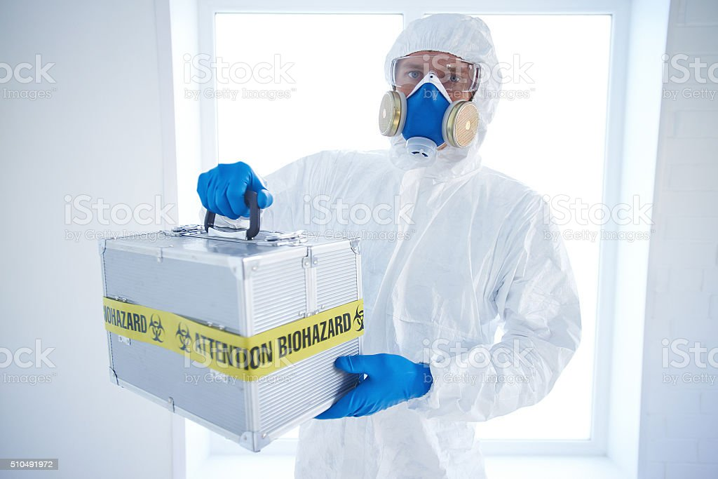 Man with dangerous case stock photo