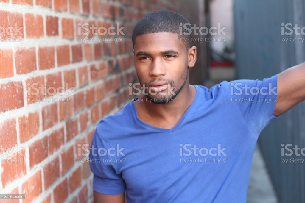 Man with deodorant stains showing stock photo